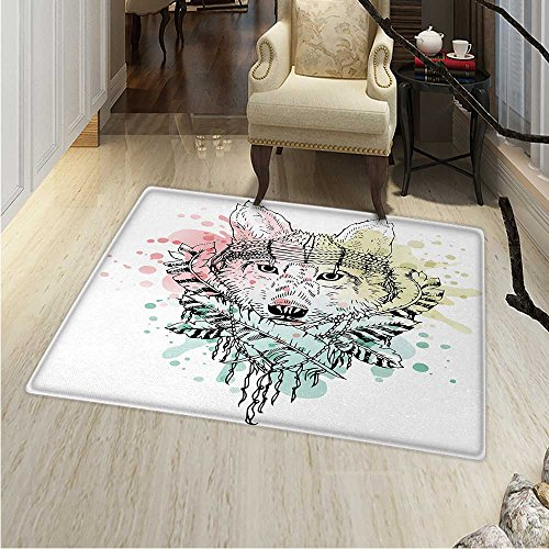 Abstract Area Rug Wild Brave Tribal Animal Wolf Rainbow Colorful Backdrop Sketchy Image Indoor/Outdoor Area Rug 2'x3' Multicolor