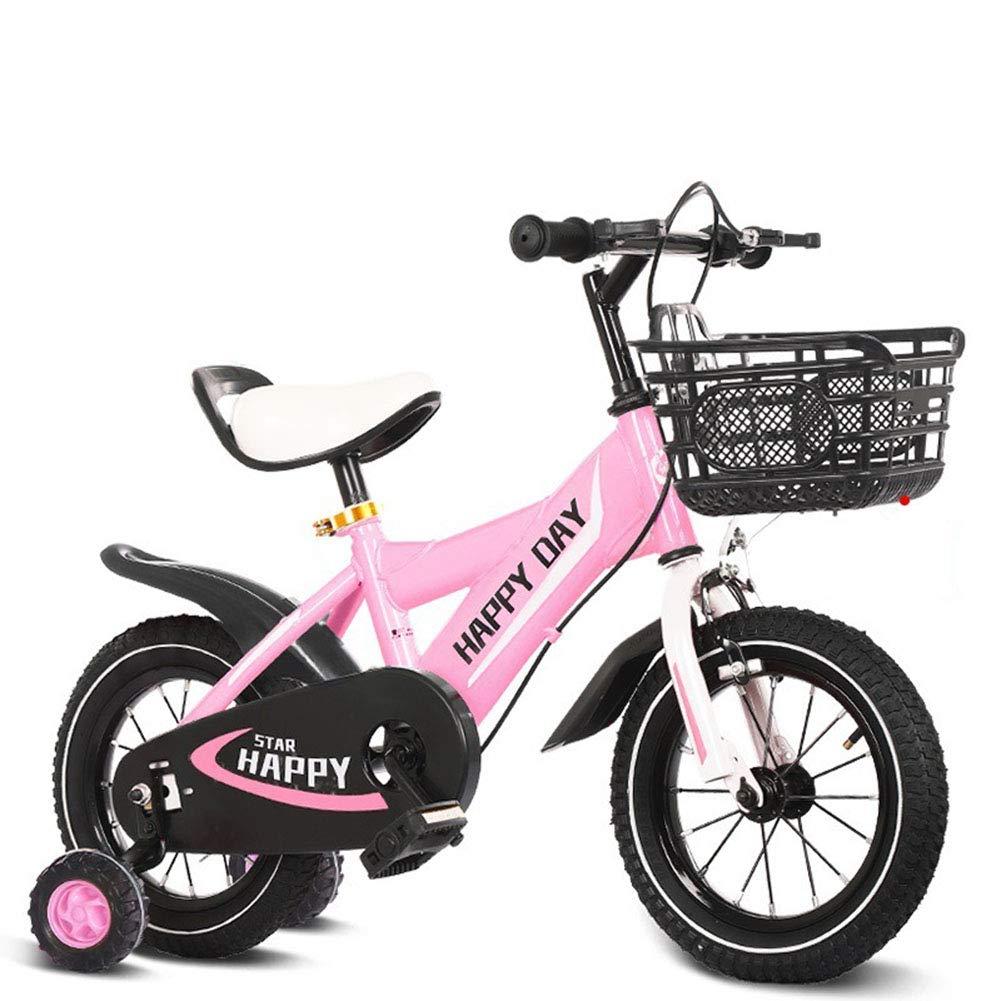 1-1 Kinder Fahrrad, Jungs Mädchen Draussen Reiten Kinder Spielzeug Verstellbare Höhe Doppelbremse Rutschfest Sicherheit,Grün,18in Rosa 12in