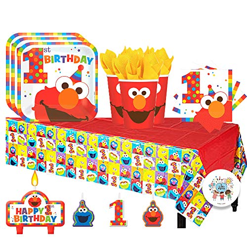 Sesame Street Party Plates (Sesame Street Elmo Turns One Birthday Party Pack for 16 with Plates, Napkins, Cups, Tablecover, and)