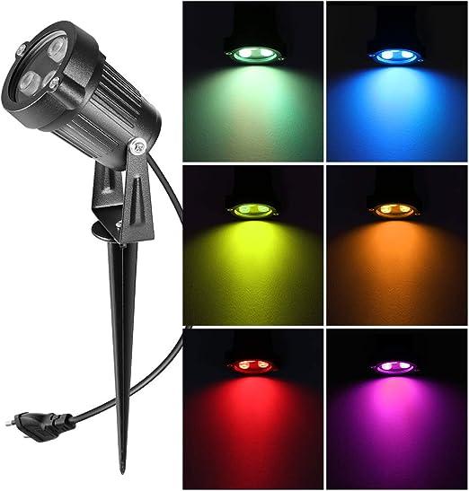 OurLeeme Focos LED, Control Remoto RGB Foco LED para el jardín Foco para Exteriores, para Exteriores, Impermeable para el jardín con Clavos, jardín, Patio, Camino (6W): Amazon.es: Jardín