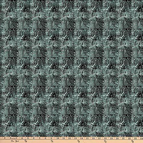 Teal One Yard Fabric - Northcott Urban Grunge Circuit Board Teal/Black Fabric by The Yard