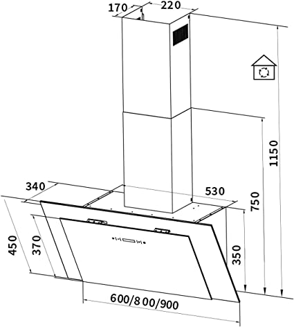 Campana extractora, campana de pared (60cm, acero inoxidable, cristal negro, extra silencioso, iluminación LED, 4 niveles, control táctil, apagado automático) BICOLORE606S - KKT KOLBE: Amazon.es: Hogar