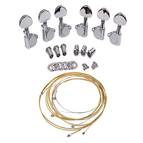 Sharplace Clavijas 3L3R Gear Ratio 18:1 con Cuerdas de Bronce para Guitarra Eléctrica Acústica
