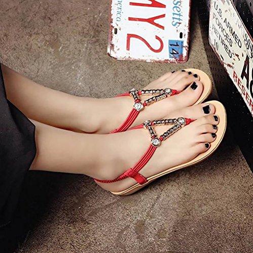 YOUJIA Damen Slingback Flache Sandalen Böhmen Metall Elemente Sandalette Rot