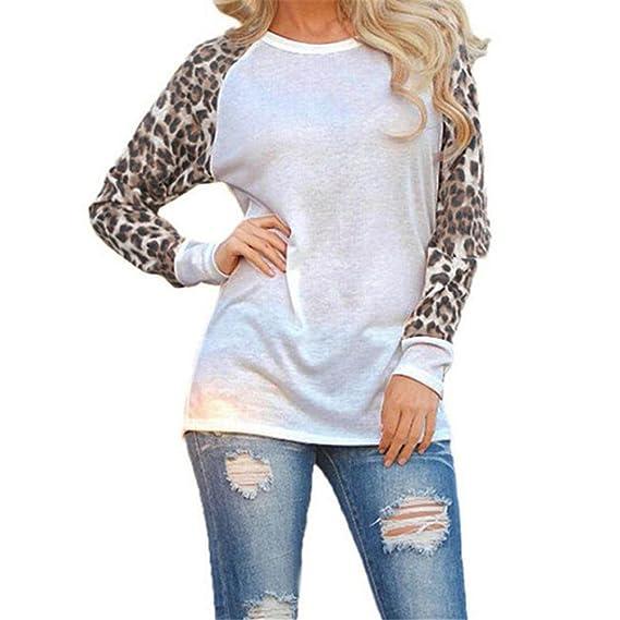 SHOBDW Primavera mujeres moda moda leopardo blusa manga larga camiseta Tops oversize (Blanco, M
