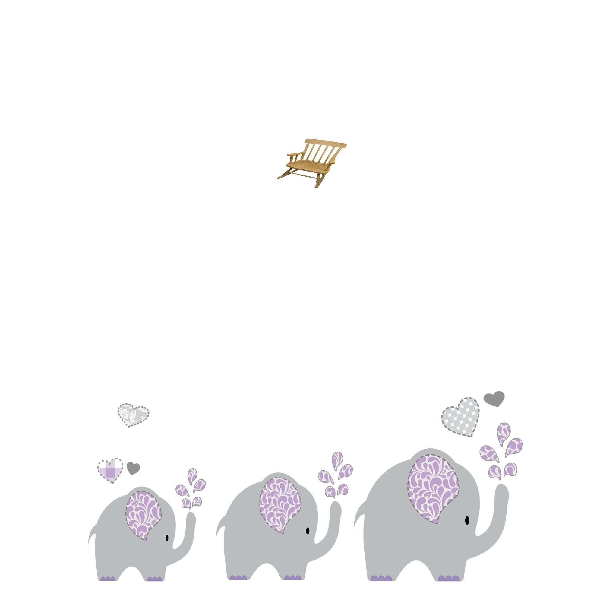 MyBambino Personalized Lavender Elephant Natural Wooden Childrens Rocking Chair