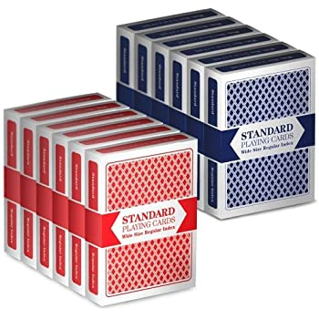 12 Decks (6 Red/6 Blue) Wide-Size, Regular Index Playing Cards Set – Plastic-Coated, Classic Poker Size by Brybelly