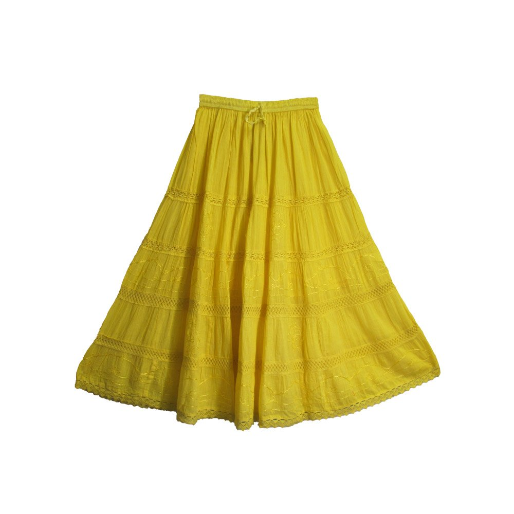 Bohemian Yellow Embroidered Lace 3-tier Gauze Cotton Long Maxi Skirt