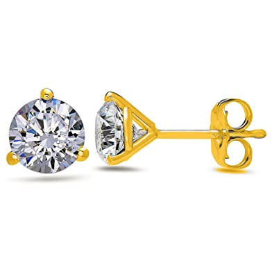 cc37fad84 Image Unavailable. Image not available for. Color: 1.00 CTW Round Brilliant  Shape Martini- Stud Earrings ...