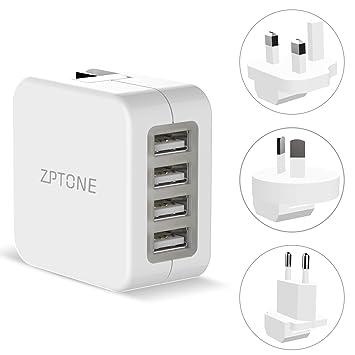 Cargador Viaje de Pared ZPTONE 4 USB Puertos Adaptador de Viaje Universal USB Cargador con US UK EU AU Plug para iPhone, iPad, Samsung, LG, HTC, ...