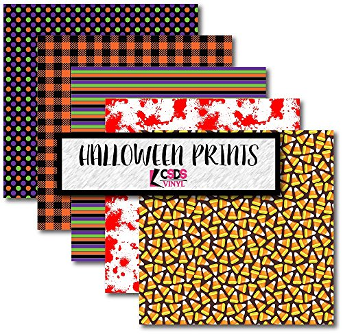 Patterned Pumpkin - Halloween Themed HTV Vinyl Pack, CSDS Vinyl Bundle Pack of Halloween Heat Transfer Vinyl, Pumpkin Printed HTV Candy Corn Patterned Vinyl (Heat Transfer Vinyl)