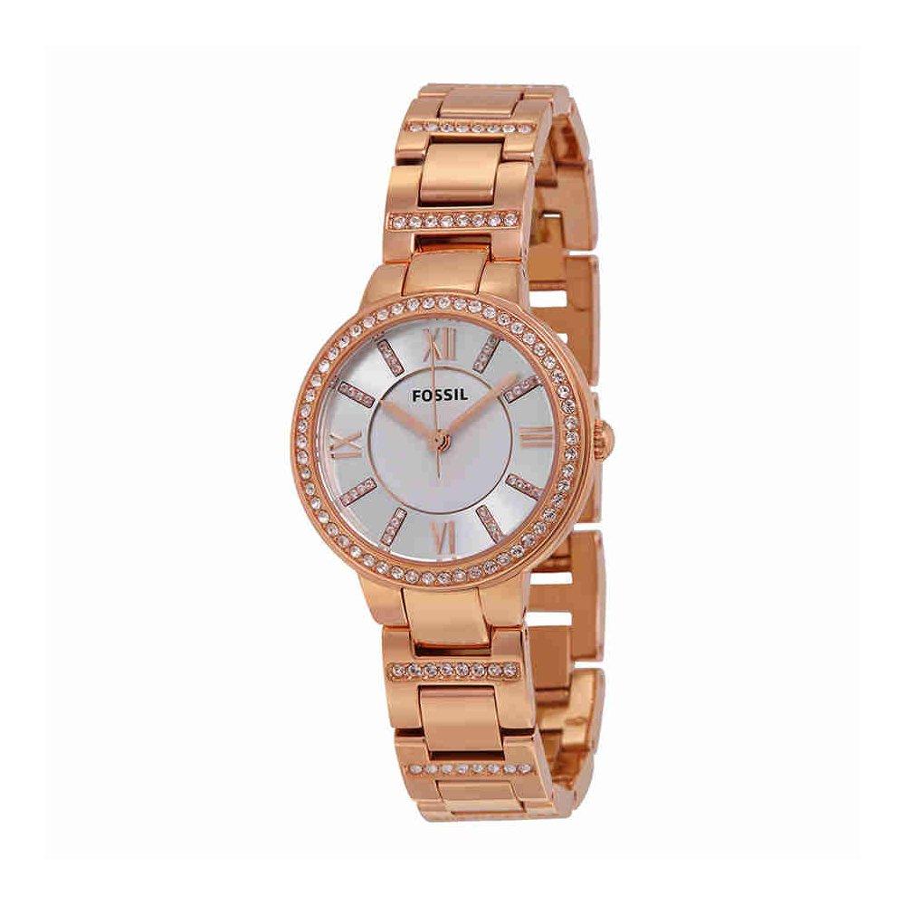 Fossil Women's Virginia Quartz Stainless Steel Dress Watch, Color: Rose Gold-Tone (Model: ES3284)