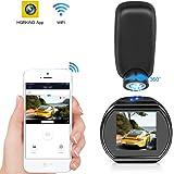 HQBKING Mini Cámara De Coche Cámara WiFi DashCam 1080p FHD Gran Ángulo de 170° Magnético con G - Sensor Detección Visión Nocturna LCD 1.5 Pulgadas de 360 ° Rotate Ángulo Tarjeta de Soporte hasta 128G