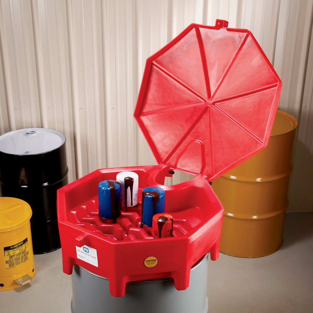 "New Pig Poly Drum Funnel with Hinged Lid, For 55 Gal Tight-Head Steel & Poly Drums, 29"" Diam x 11"" H, Red, DRM672-RD by New Pig Corporation (Image #5)"