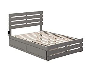 Atlantic Furniture Oxford Bed with Footboard and USB Turbo Charger with Twin Trundle, Full, Grey