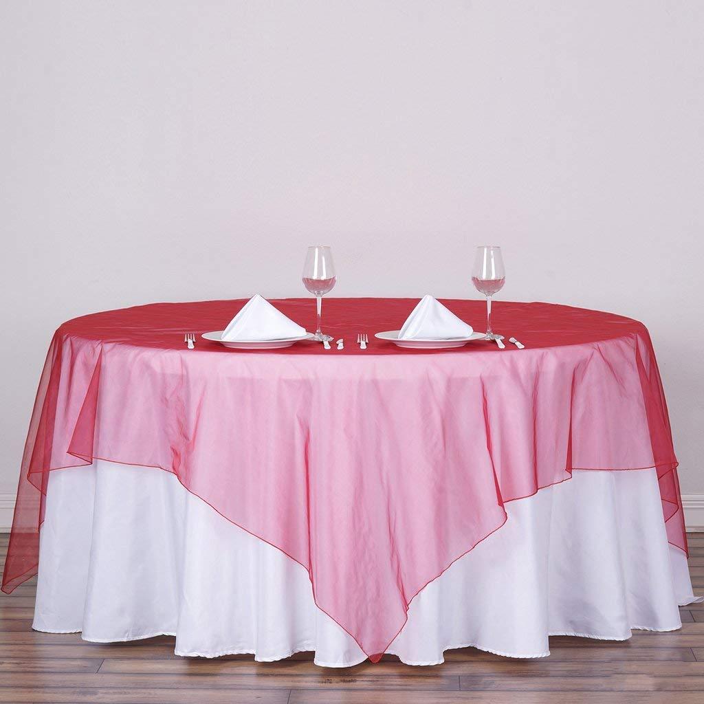 Efavormart Apple Green Organza Square Tablecloth Overlay 90x90 Square Tablecloth Cover for Wedding Party Event Banquet