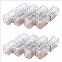 8 tapas para patas de silla de silicona, rectangulares, para muebles, tablas, patas cubiertas, protección de patas con…