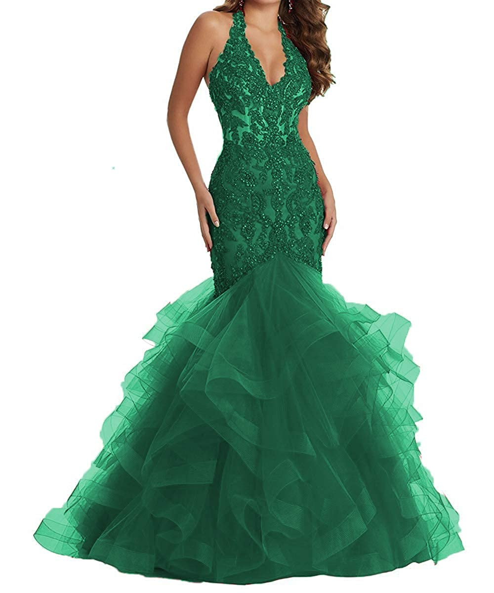 Green YMSHA Women's Long Halter Lace Beads Formal Prom Dress Long Mermaid V Neck Evening Party Gown 17PM