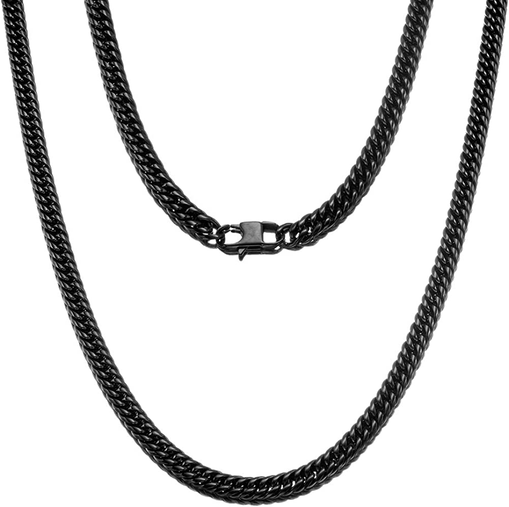 Jewelry Kingdom 1 Cuban Link Chain Necklace For Men And Women 8mm Black High Polish Stainless Steel Double Curb Chain Franco Cuban Link 8mm 18 Amazon Com