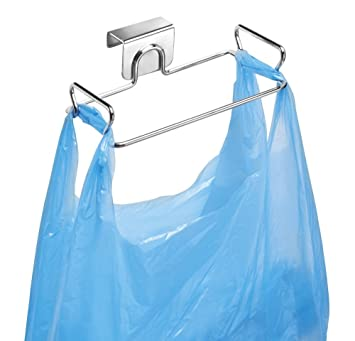 mDesign Soporte para bolsa de basura fácil de colgar – Colgador de bolsas de acero –