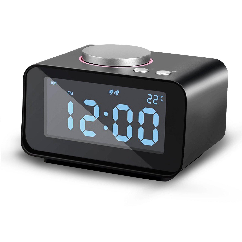 AGPTEK Reloj de Alarma Dual, multifunción Reloj Despertador con Radio FM y termómetro para Interior, Doble Carga USB y AUX en con 5 Niveles de Brillo ...