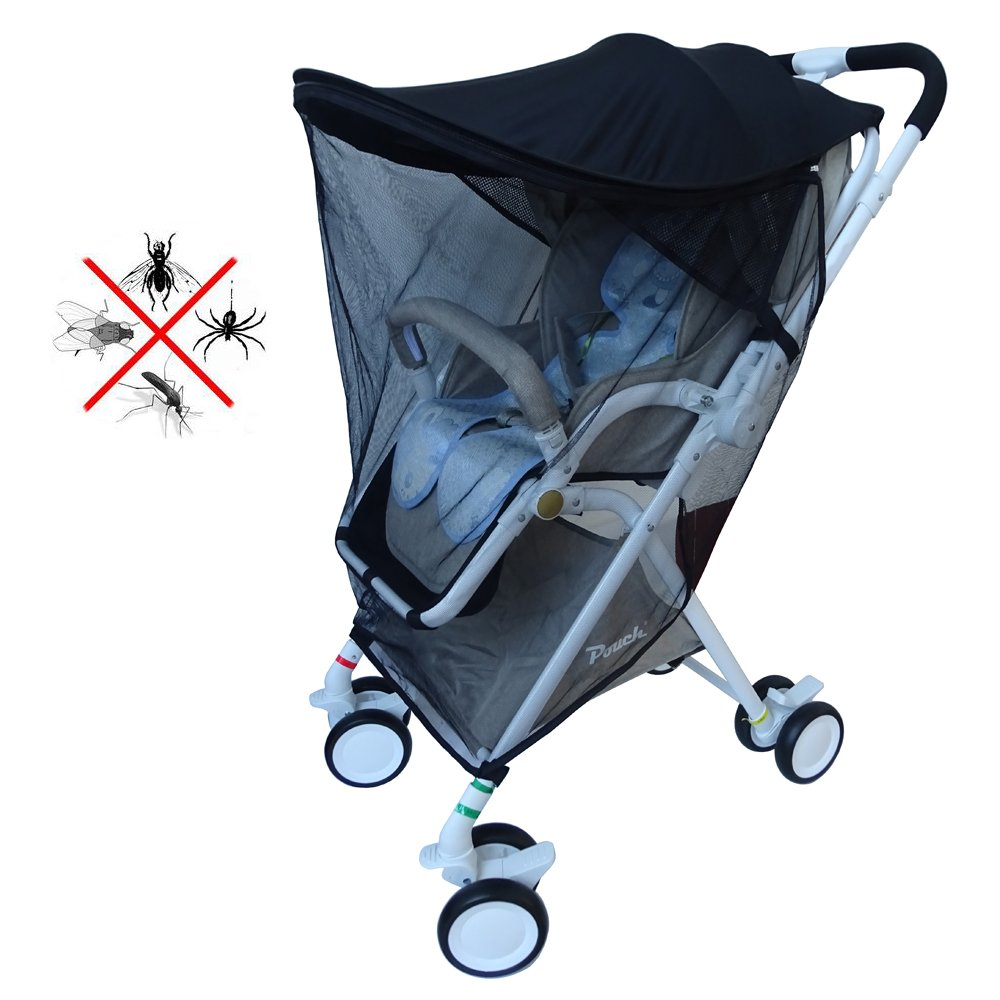 Baby Stroller Sunshade,Baby Stroller Mosquito Net,Anti-UV Insect Net,Protect The Baby in All Directions. (Black)