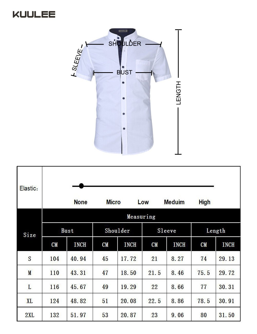 Kuulee Men's Casual Slim Fit Short Sleeve Button Down Business Shirt Cotton Dress Shirts White XXL by Kuulee (Image #7)