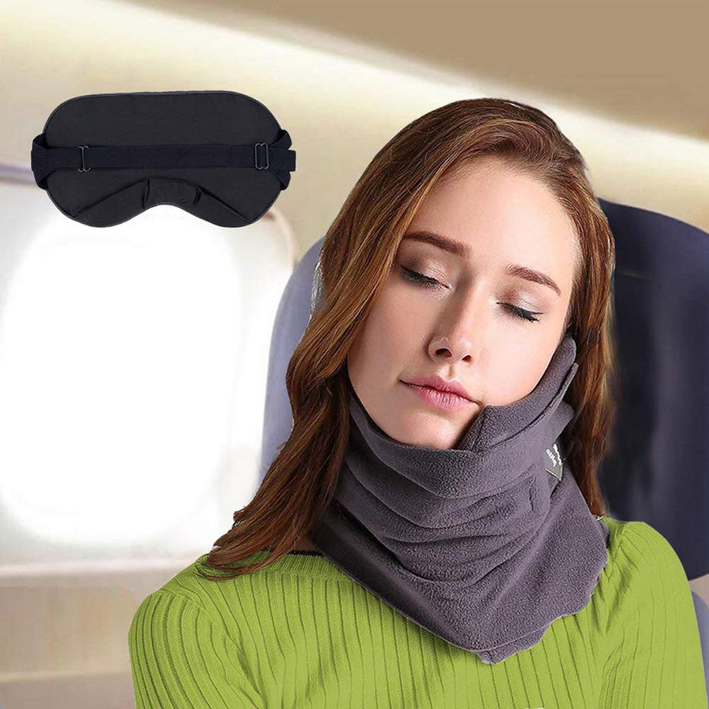 JZDZ Neck Support Travel Airplane Pillow with Adjustable Strap,Travel Pillow Scientifically Proven Supper Soft Fleece Cover for Unisex Men Women Kids,Gray