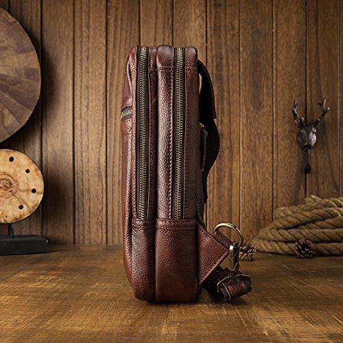 japonés masculino pecho en Primera de de del al coreano de el colgada mochila de ocio aire hombres gran cuero de maletín libre y capa cuero hombro 16 Manual capacidad 8CM 31 bolsa 06Y08qw
