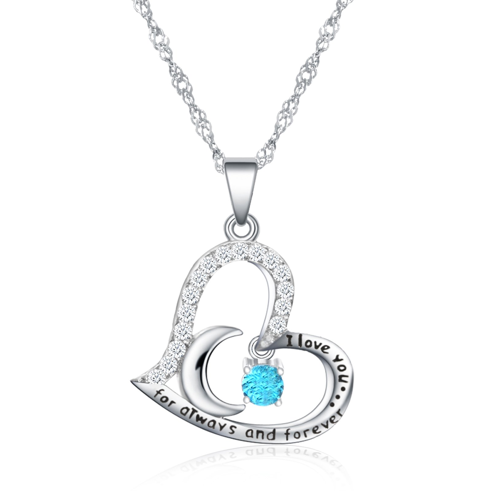 Fine Jewelry Birthstone Necklace Heart Birthstone Jewelry I Love You For Always and Forever Birthstone Jewelry for Women (03-March-Aquamarine)