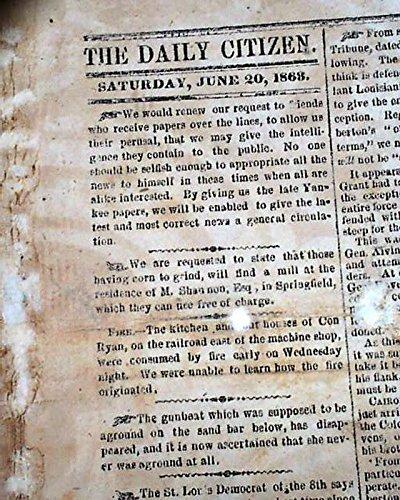 Very Rare & Famous WALLPAPER Vicksburg MS Mississippi 1863 Civil War Newspaper THE DAILY CITIZEN, Vicksburg, Mississippi, June 20, 1863 Although i... 1863 Civil War Newspaper