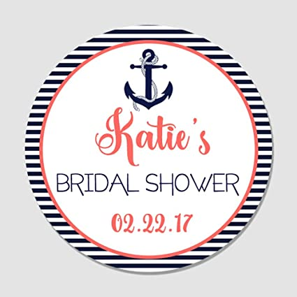 40 personalized navy coral anchor nautical themed bridal shower favor label stickers customized round
