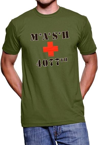Logo de Dibujos de Osos Cruz Roja Verde Militar T-Camiseta de Manga Corta Camiseta para Hombre: Amazon.es: Ropa y accesorios