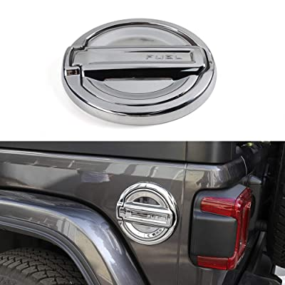 YiXunTen for 2020+ Jeep Wrangler JL Car Interior Rear Armrest Water Cup Holder Cover Frame Decor Sticker Decal Trim (Chrome, Gas Tank Cap): Automotive