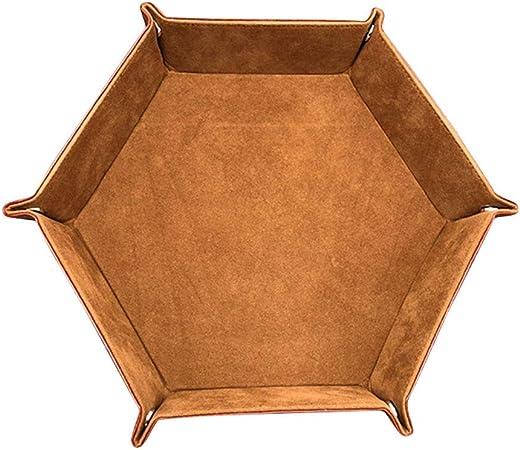 Vaugan Dado Bandeja Geométrico Peluche Piel Sintética Plegable Rodar Bandeja para Juegos de Mesa - Marron: Amazon.es: Hogar