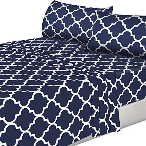 Utopia Bedding Printed Bed Sheet Set - 4 Piece Microfiber Bedsheet Set (Full, Navy) (Full Size Set Chevron Bed)