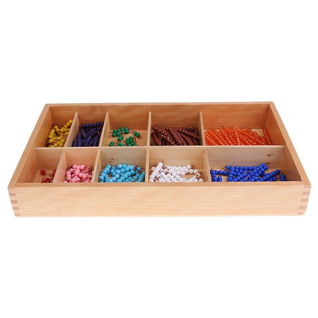 MonkeyJack Kids Montessori Math Learning Developing Educational Toy - 1-10 Beads Bar Checker Board