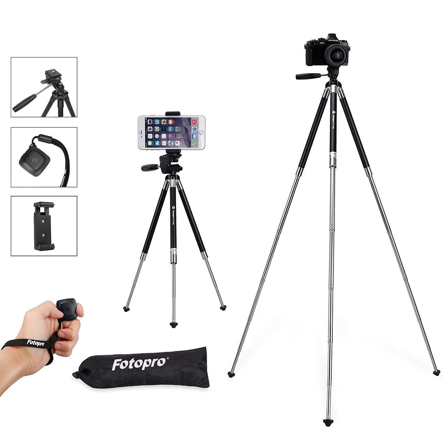 Fotopro Tripod for iPhone, 39.5'' Travel Aluminum Tripods with Phone Clamp and Bluetooth, Lightweight Portable Tripod for iPhone X 8 Plus, Samsung, Huawei (Black)