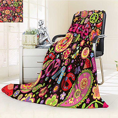 (YOYI-HOME Super Soft Duplex Printed Blanket Colorful Paisley Leaves Music Keys Typography Party Idealism Historic Revolution Anti-Static,2 Ply Thick,Hypoallergenic/W47 x H79)