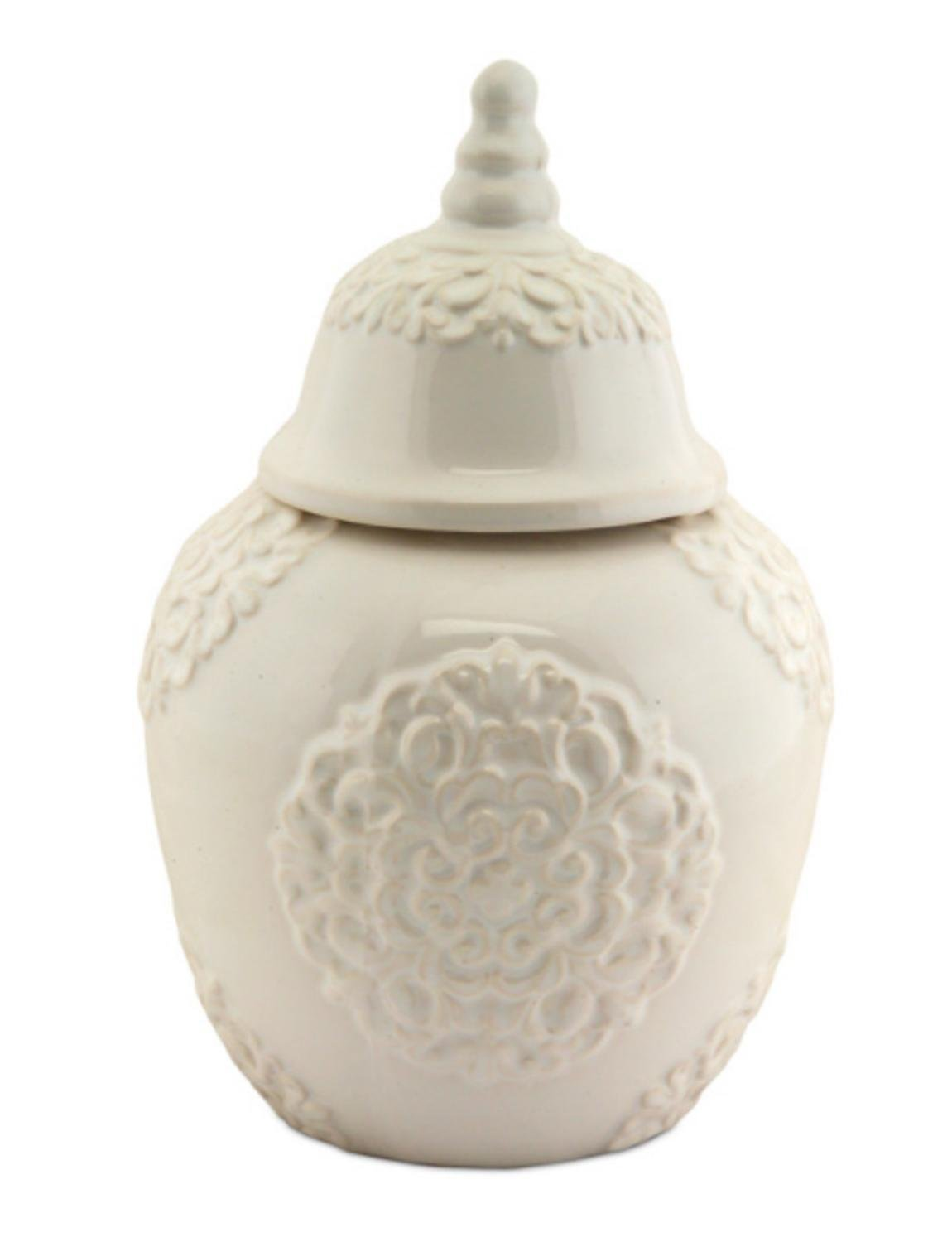 Pack of 4 Glossy Antique White Decorative Medallion Table Top Ceramic Containers with Lids 12'' by Melrose
