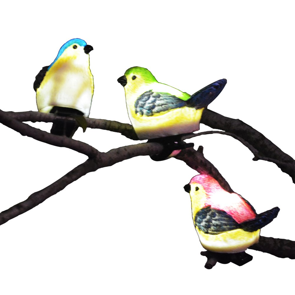 SOLAHOMF Solar Outdoor Decoration Lights  Bird Shaped Multi Colored  Decoration Lights With Clip For Garden,Patio Tree Decoration Landscape  Lighting, 3 Pack