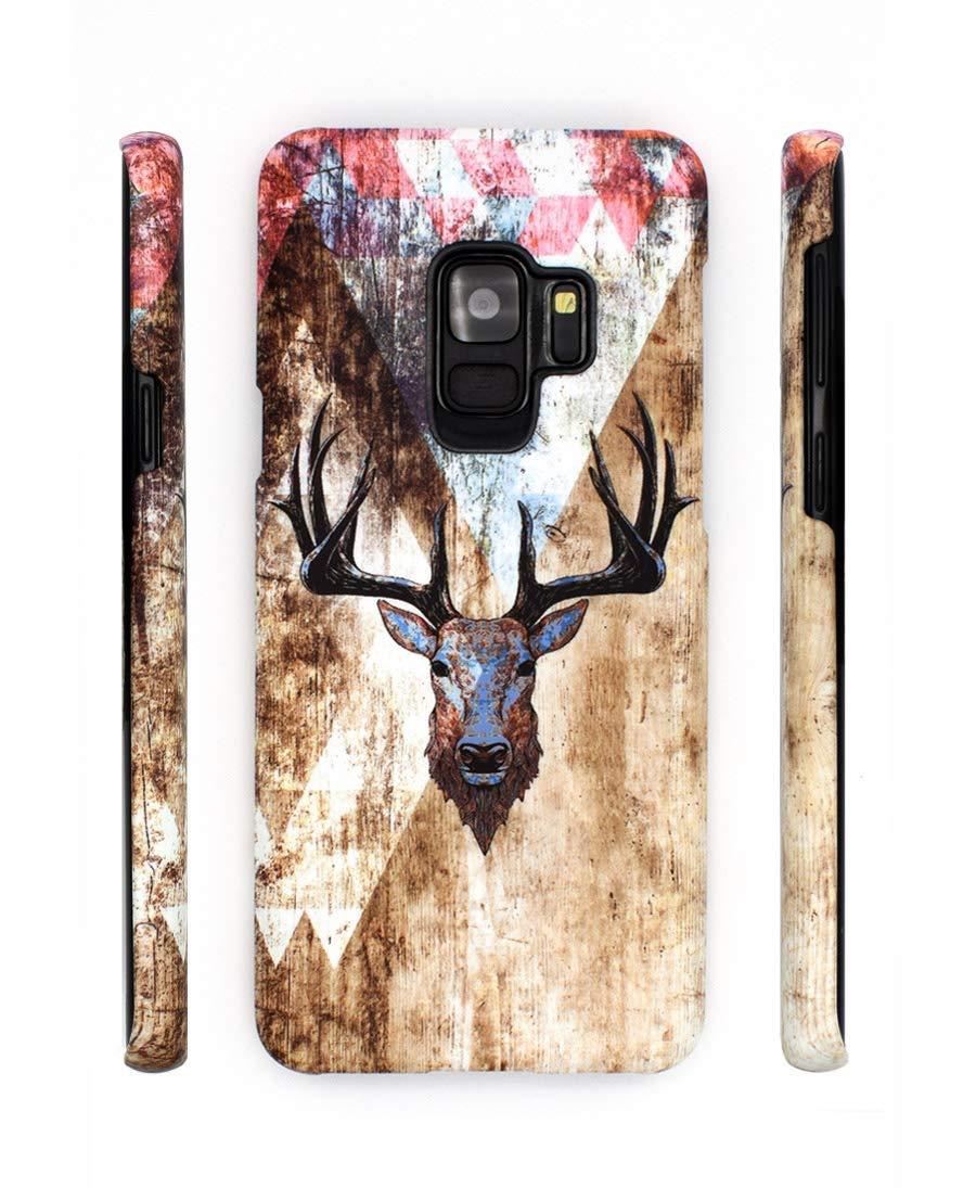 Handyh/ülle S9 Hirsch H/ülle f/ür Samsung Galaxy S9 Schutzh/ülle Holz Pattern Cover