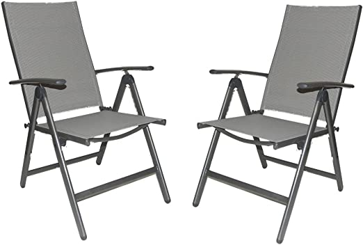 ELEGANT Folding, Reclining High Back Patio Dining Chairs (Set of 2)