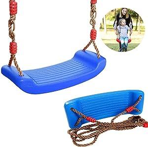 Swing, Swing Seat Children's Garden Swing Adjustable Rope Seat Indoor Outdoor Plastic Swing Seat,Blue