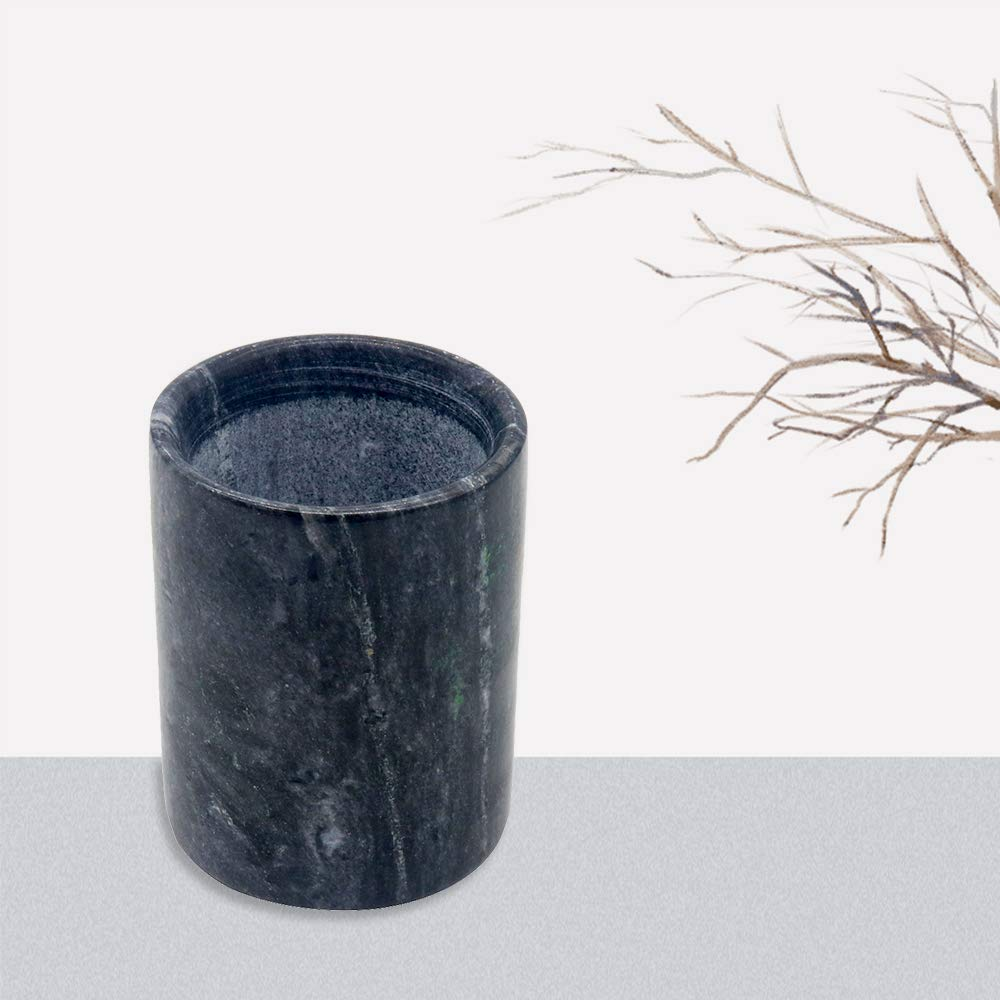 Black YCD Ziran Marble Storage Cup for Candles,pens,Makeup Brushes,Decorations Office Gifts Desktop Marble 8.0x8.0x10.0cm