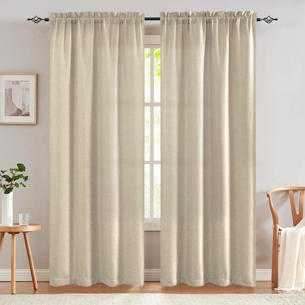 84 inch Curtains Linen Textured Room Darkening Greyish Beige Bedroom Living Room Window Treatment Panels 2 Pieces