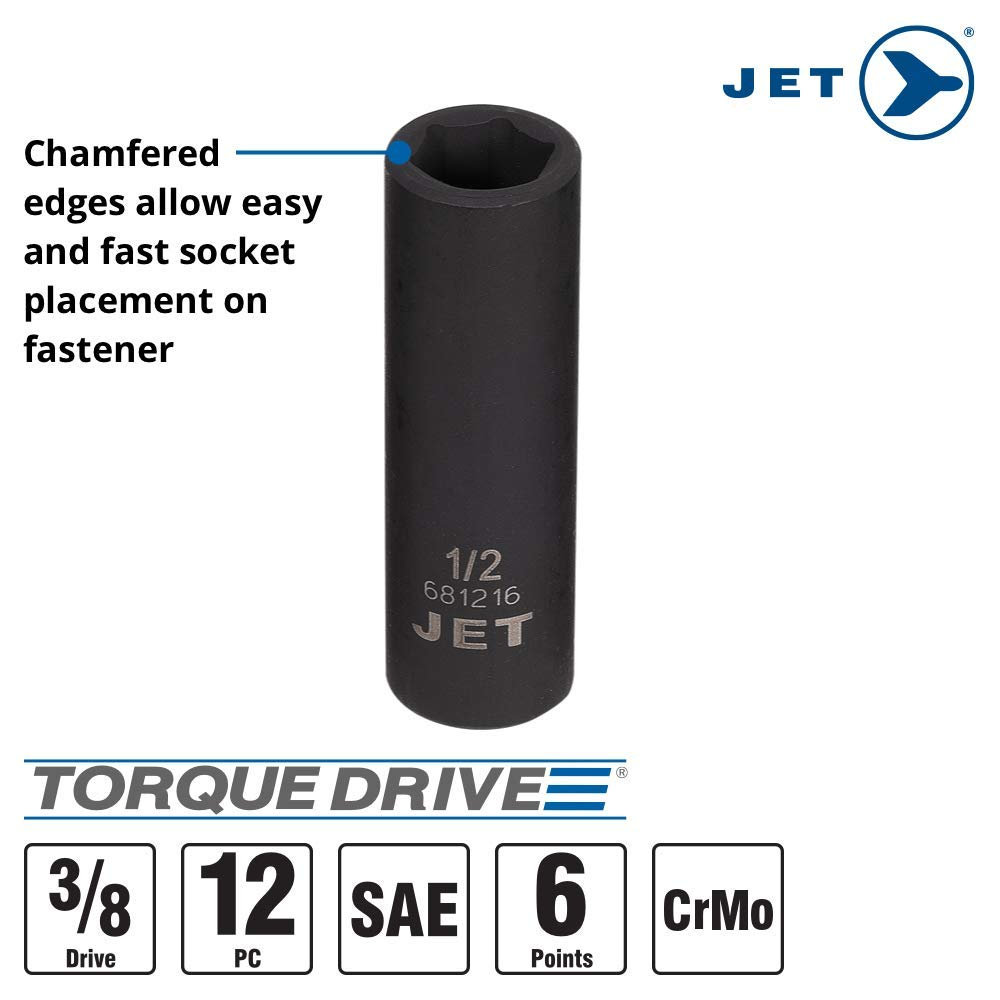 6 Point Jet 3//8-inch Drive 610208 12-Piece Regular SAE Professional Impact Socket Set