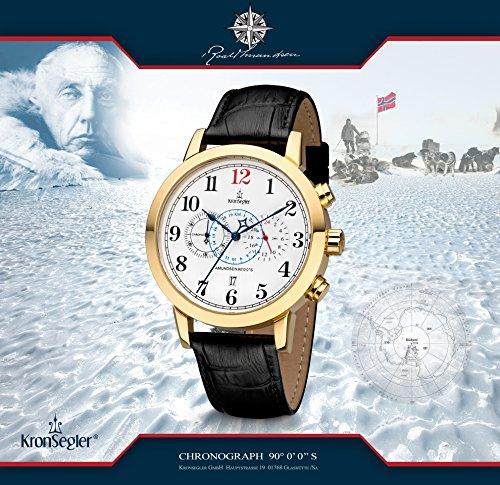 Kronsegler Amundsen 90°0'0''S kronograf & telemeter guld-vit/svart