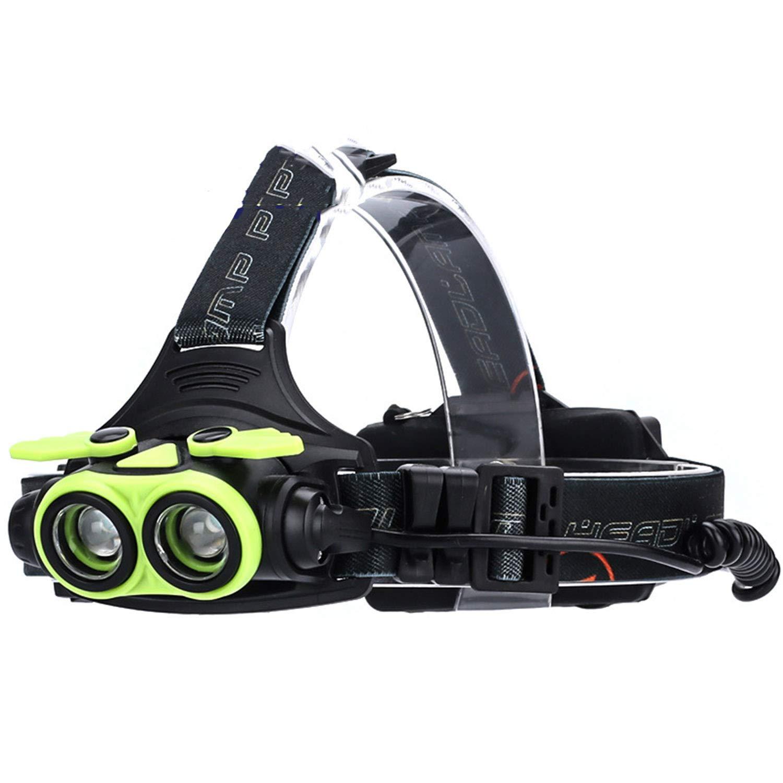 B Headlamp,Outdoor Glare Lighting Double Headlights, 2LED, Zoom T6 High Power, 3AA Power Supply