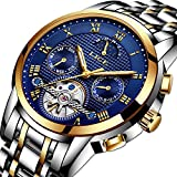 Watches for Men,LIGE Stainless Steel Waterproof Automatic Mechanical Watch Moon Phase Gents Fashion Casual Skeleton Tourbillon Wrist Watch Gold Blue
